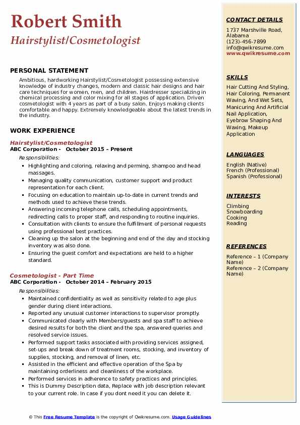 Hairstylist/Cosmetologist Resume Template