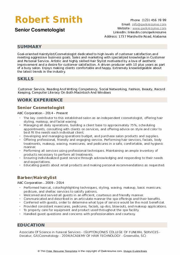 Senior Cosmetologist Resume Sample