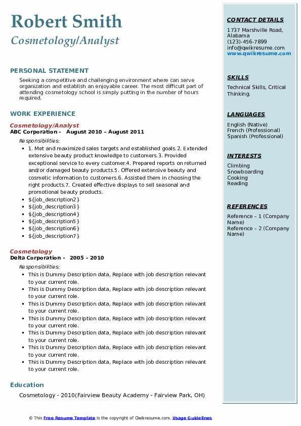 cosmetology resume samples  qwikresume