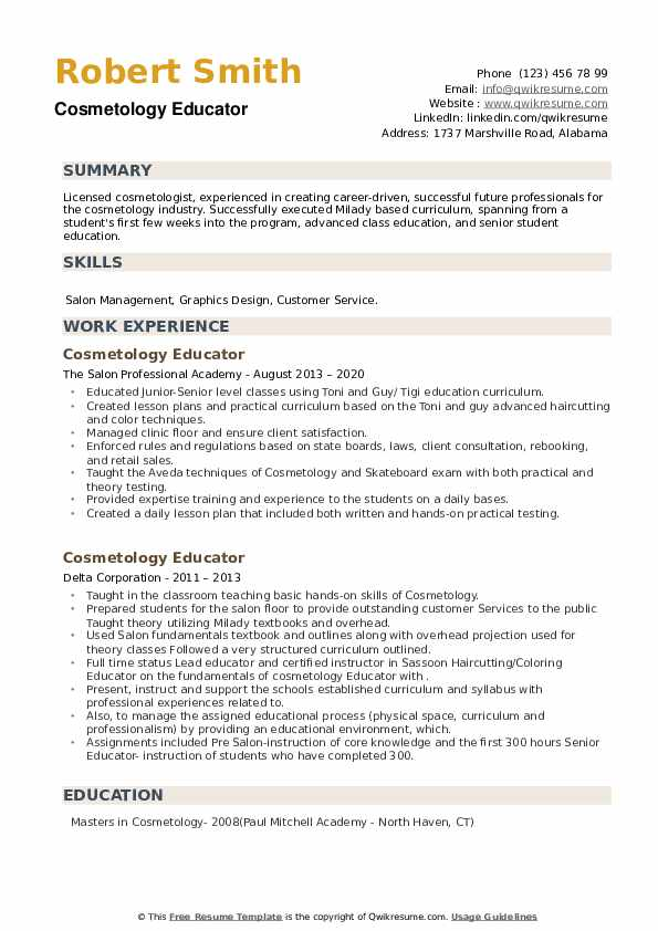Cosmetology Educator Resume example