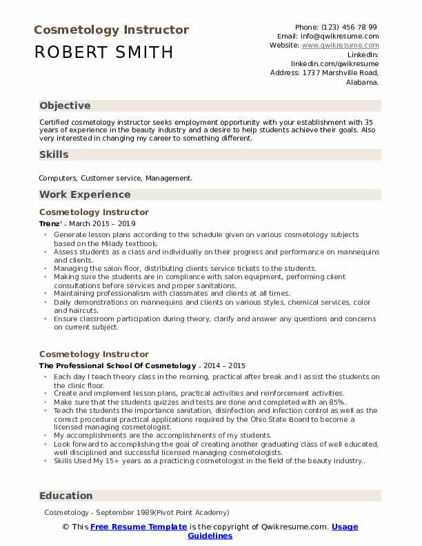 Cosmetology Instructor Resume Template
