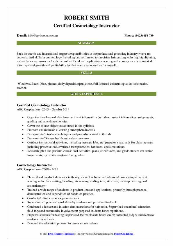 Certified Cosmetology Instructor Resume Template