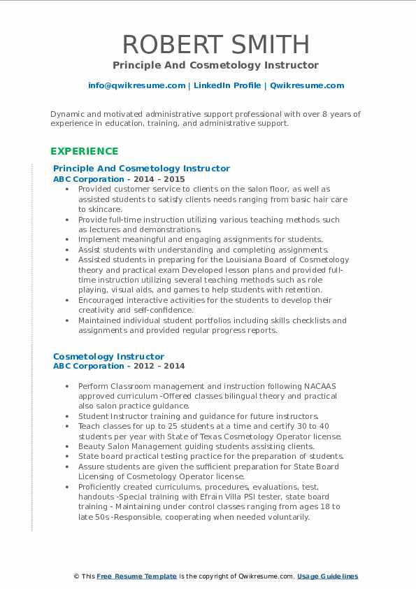 Principle And Cosmetology Instructor Resume Format