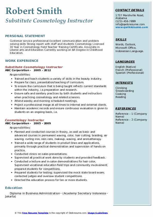 Substitute Cosmetology Instructor Resume Model