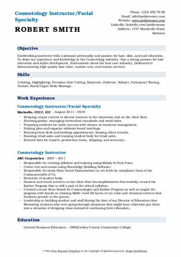 Cosmetology Instructor/Facial Specialty Resume Sample