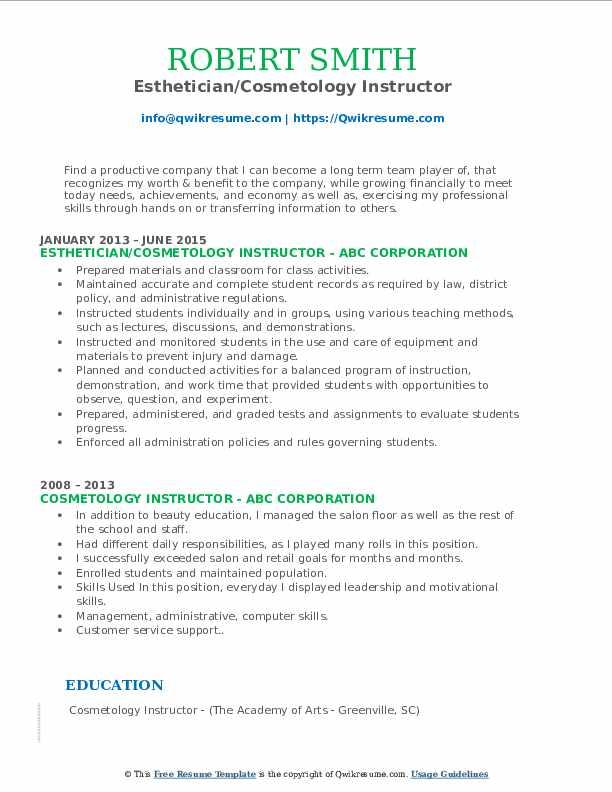 Esthetician/Cosmetology Instructor Resume Format