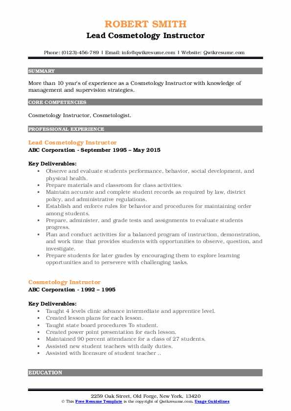 Lead Cosmetology Instructor Resume Format