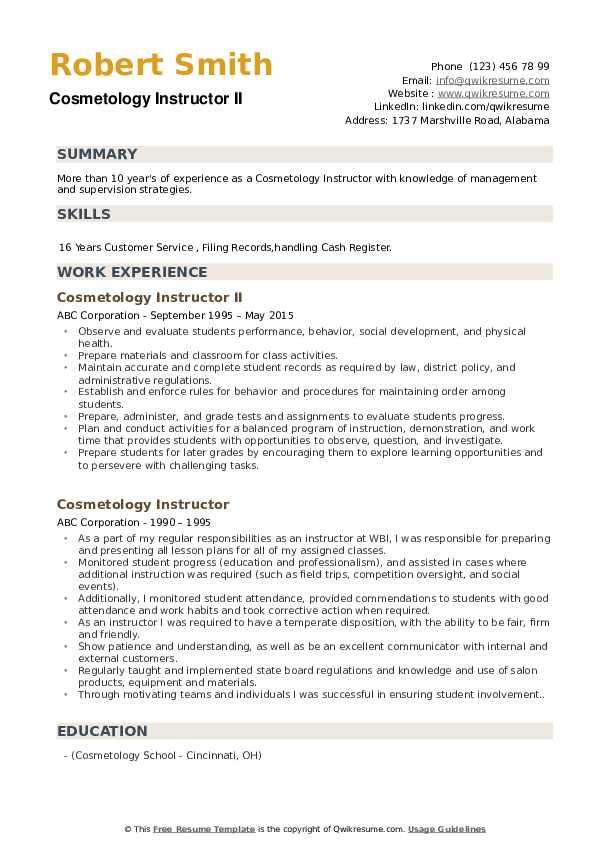 Cosmetology Instructor II Resume Model