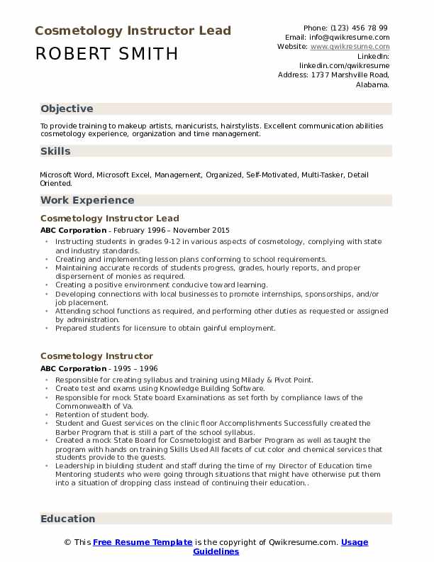 Cosmetology Instructor Lead Resume Model