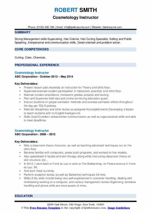 Cosmetology Instructor Resume example