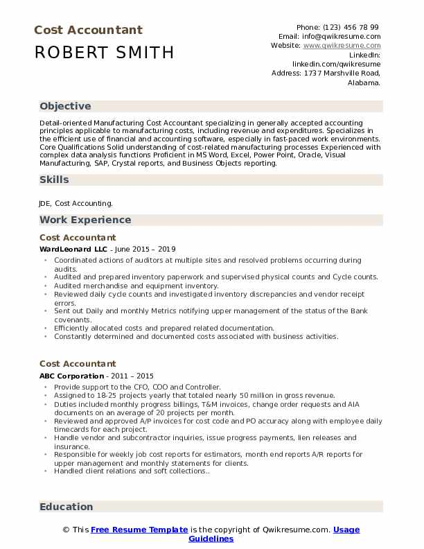 Cost Accountant Resume Samples | QwikResume