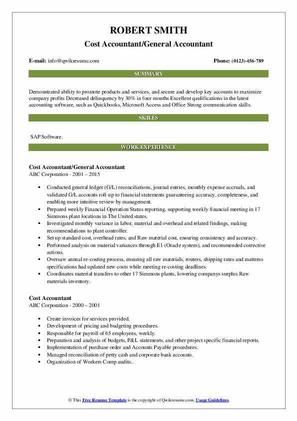 Cost Accountant/General Accountant Resume Example