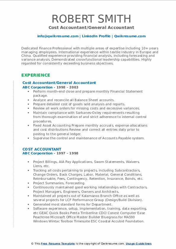 Cost Accountant/General Accountant Resume Template