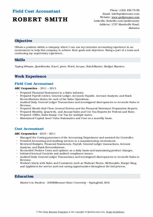 Field Cost Accountant Resume Sample