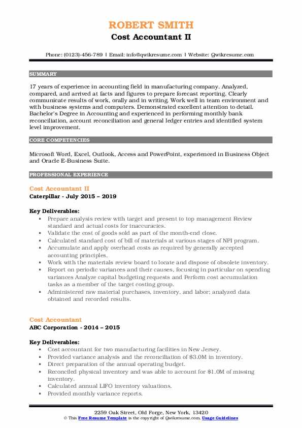 Cost Accountant II Resume Format