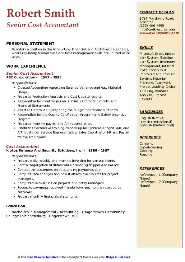 Senior Cost Accountant Resume Model