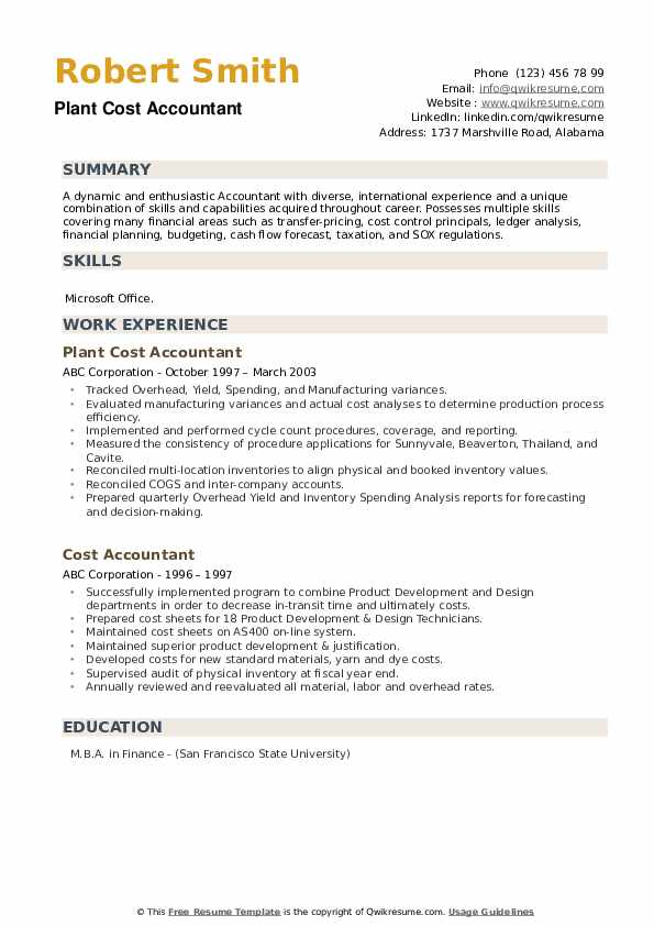 Plant Cost Accountant Resume Format