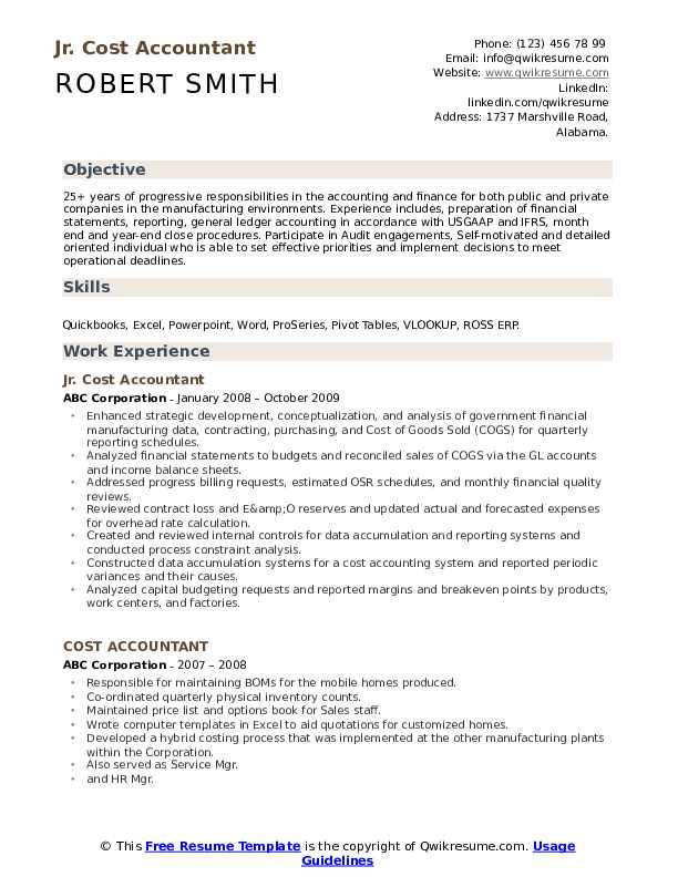 Jr. Cost Accountant Resume Model