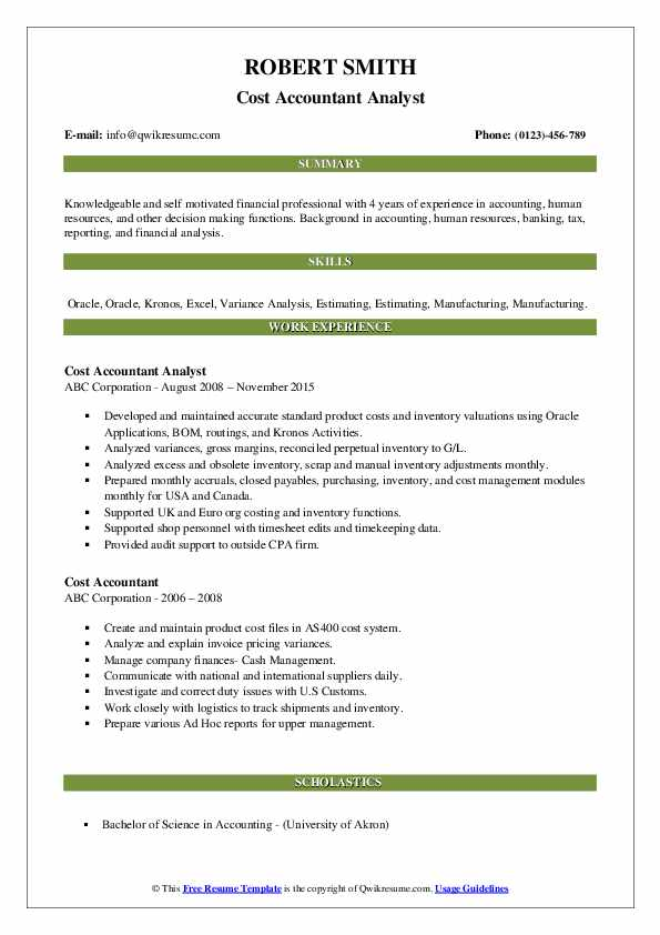 Cost Accountant Analyst Resume Template