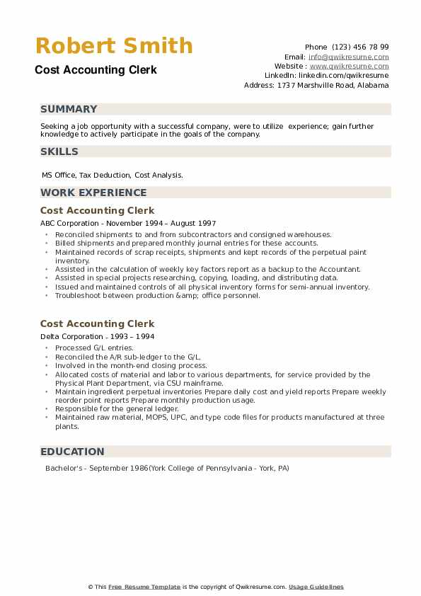 Cost Accounting Clerk Resume example