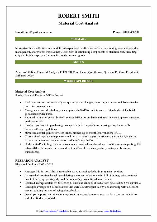material cost analyst resume sample
