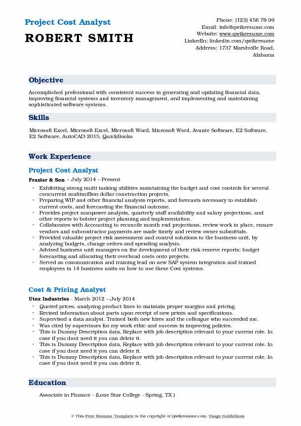 Project Cost Analyst Resume Sample