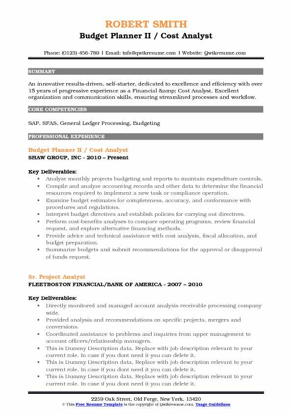Budget Planner II / Cost Analyst Resume Sample