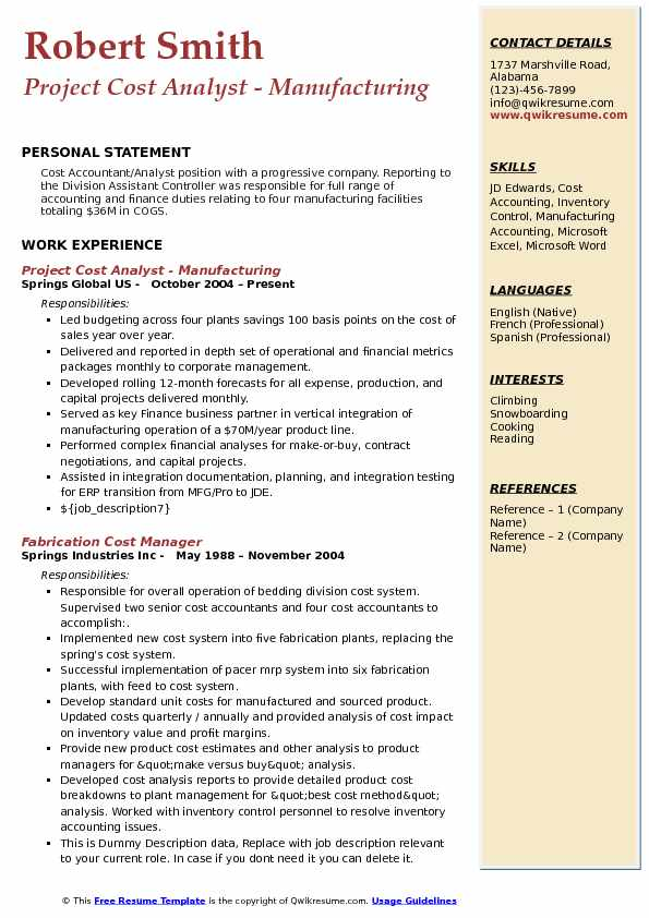 Project Cost Analyst - Manufacturing Resume Example
