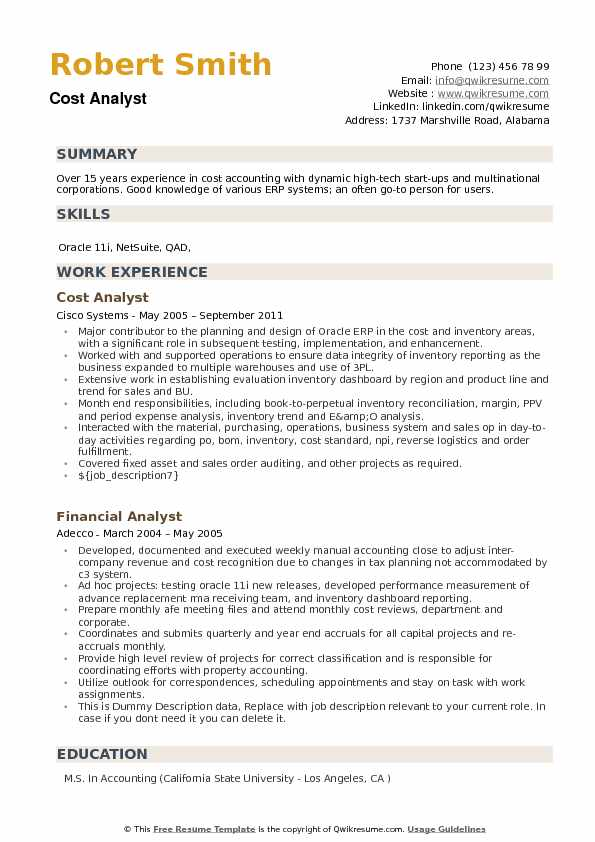Cost Analyst Resume Example
