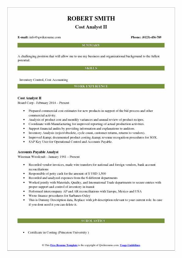 Cost Analyst II Resume Sample