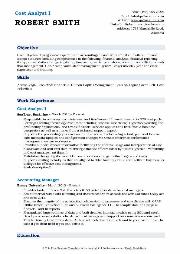 cost analyst resume samples