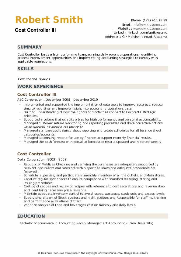 Cost Controller Resume example