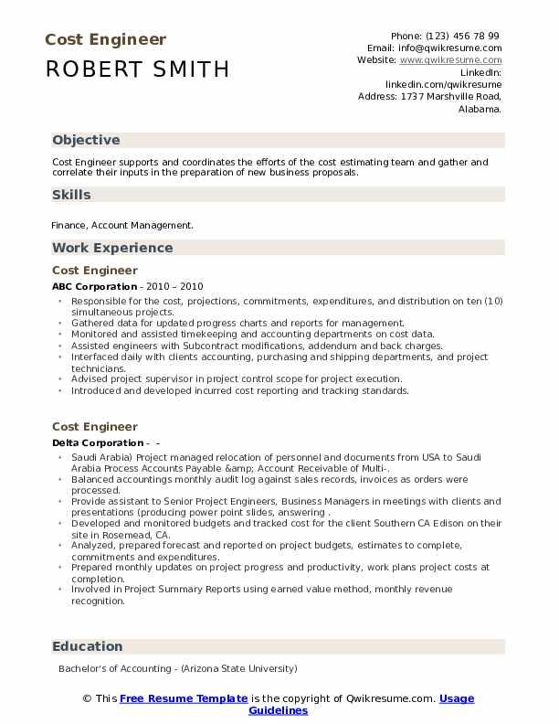 Cost engineer resume samples print advertisement analysis essay