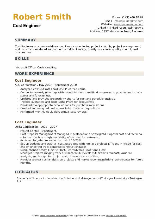 Cost Engineer Resume example