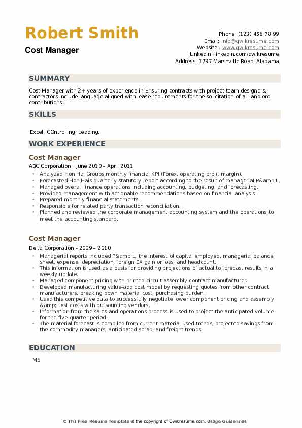 Cost Manager Resume example