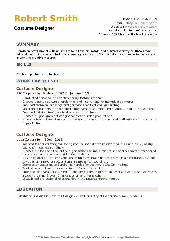 Costume Designer Resume example