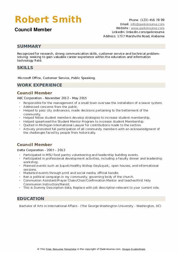 Council Member Resume example