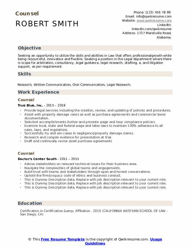 Counsel Resume example