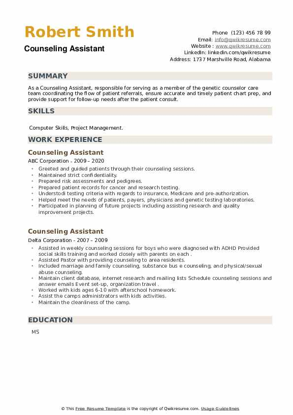 Counseling Assistant Resume example