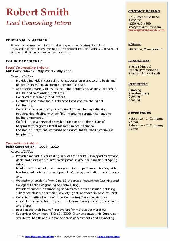 Counseling Intern Resume Samples Qwikresume