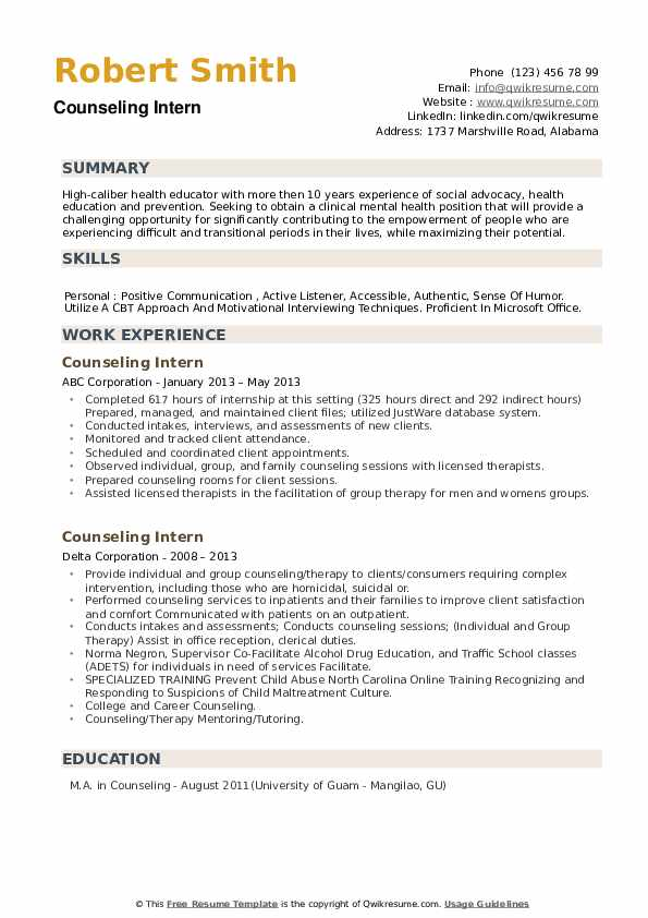 Counseling Intern Resume example