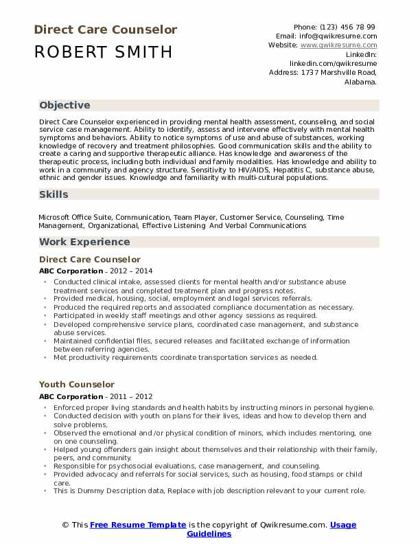 Direct Care Counselor Resume Template