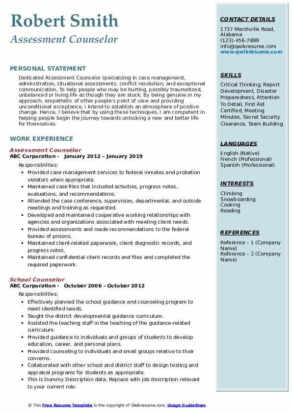 Assessment Counselor Resume Model