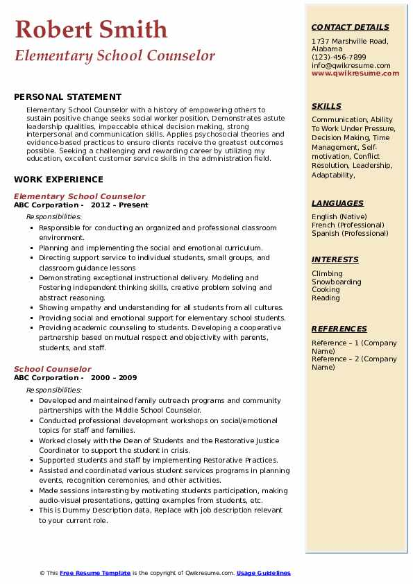 counselor resume samples