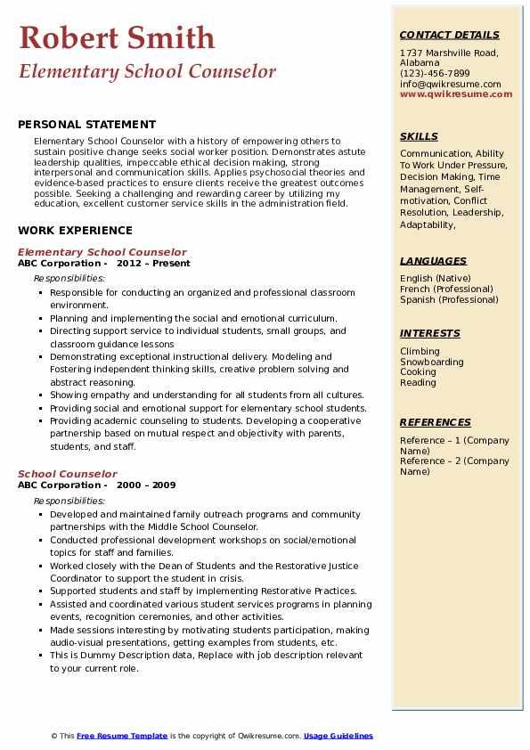 Elementary School Counselor Resume Model