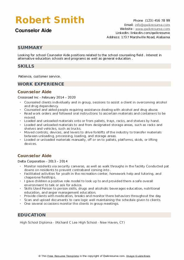 Counselor Aide Resume example