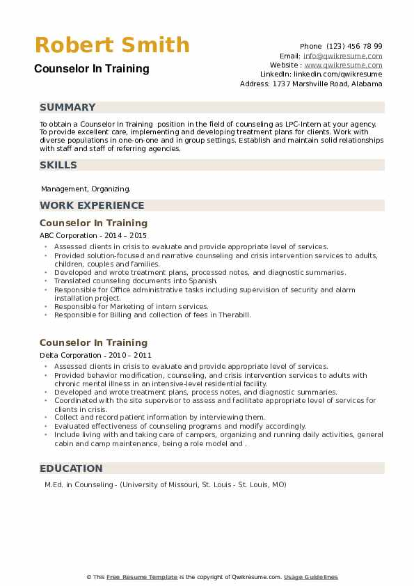 Counselor In Training Resume example