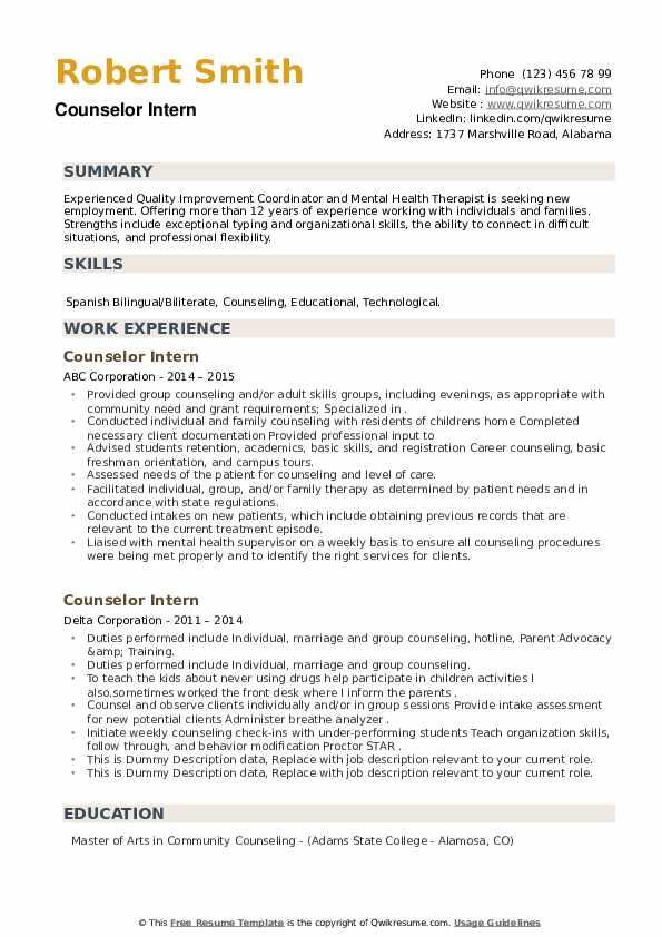 Counselor Intern Resume example