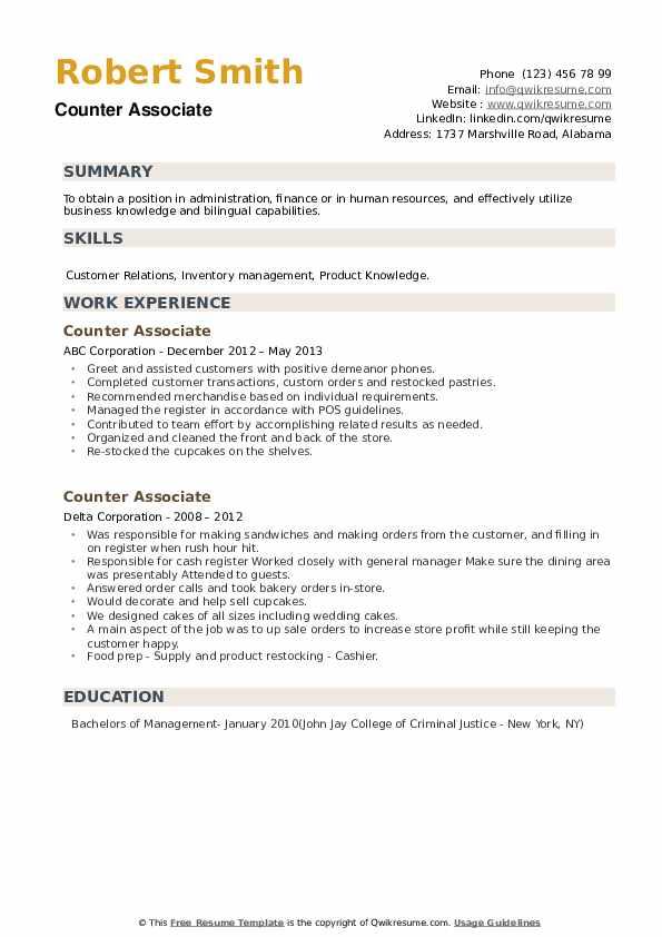 Counter Associate Resume example