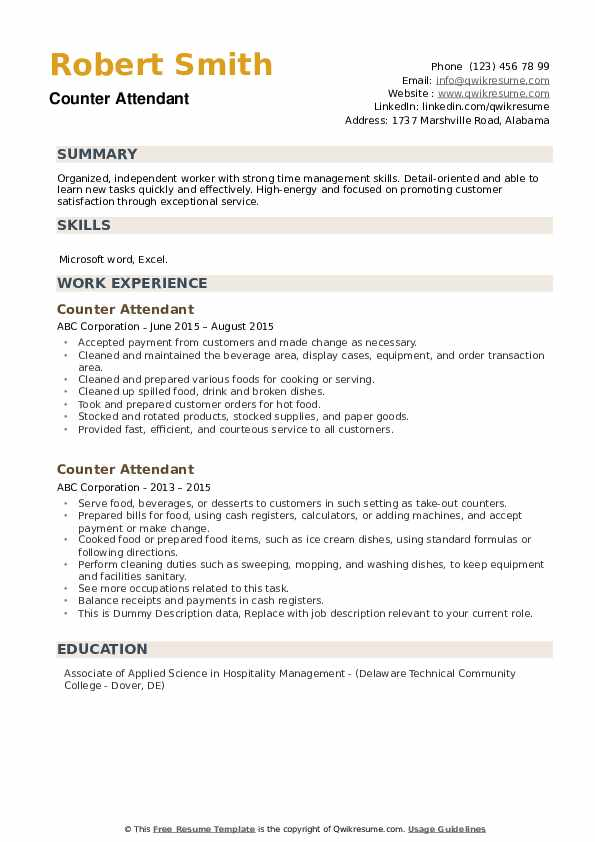 Counter Attendant Resume example